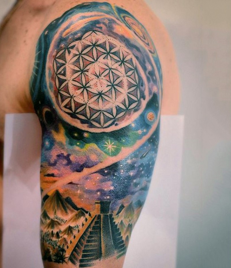 Aztec themed colored spacehalf sleeve tattoo for Aztec tattoos sleeve