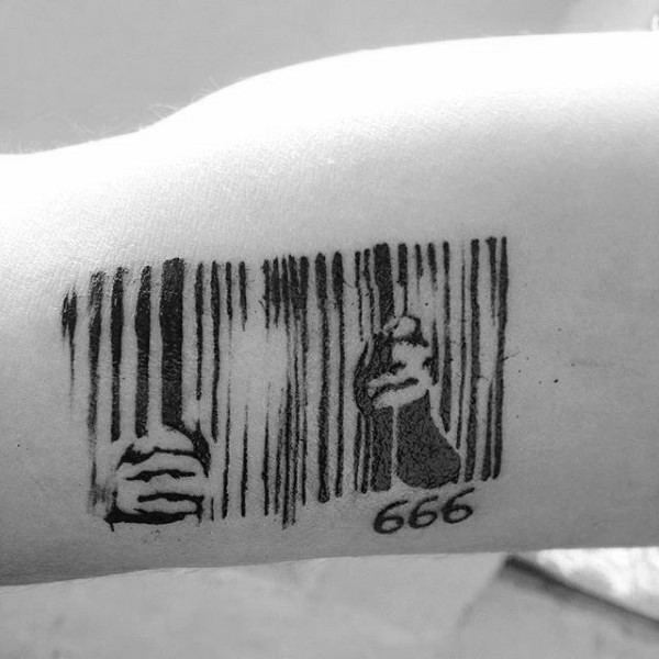 Barcode like black ink arm tattoo of human cage