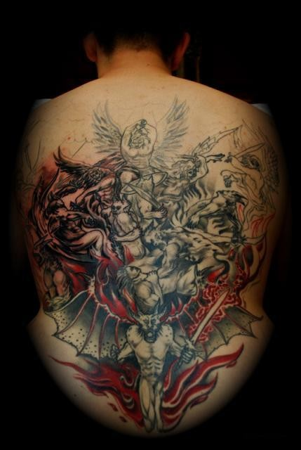 Battle of angels and demons tattoo on whole back