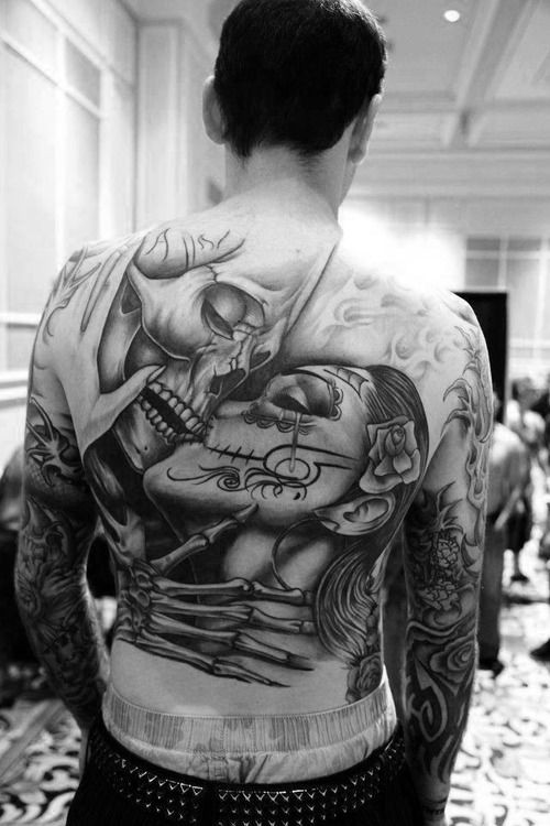 Beautiful Kissing man and woman santa muerte tattoo on back