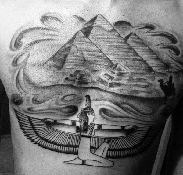Beautiful ancient Egypt themed big chest tattoo of pyramids and painting