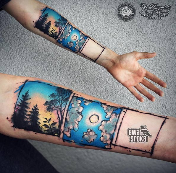 Beautiful art style creative looking forearm tattoo of nature pictures