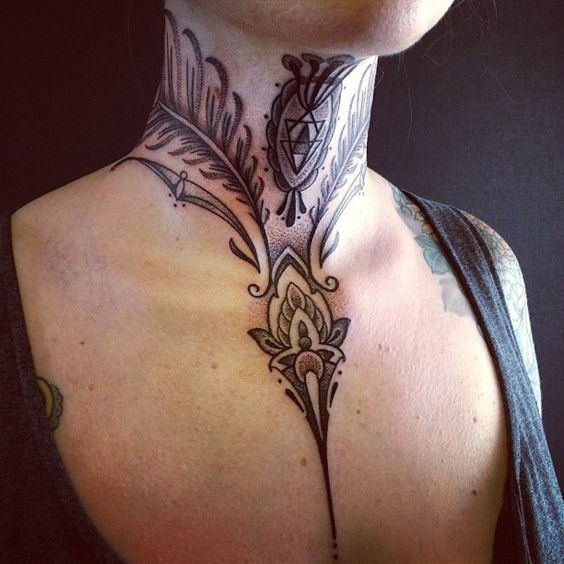 Beautiful black and white feather tattoo on neck