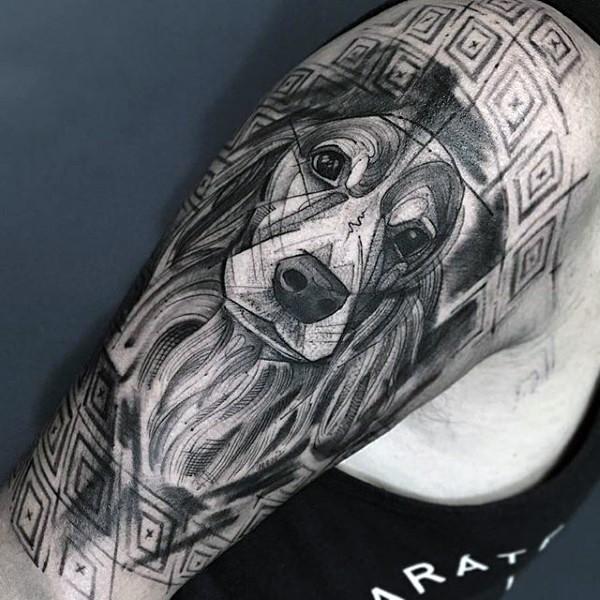 Beautiful black ink dog portrait tattoo on half sleeve zone