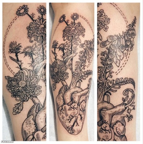 Beautiful black ink engraving style leg tattoo of human heart with flowers