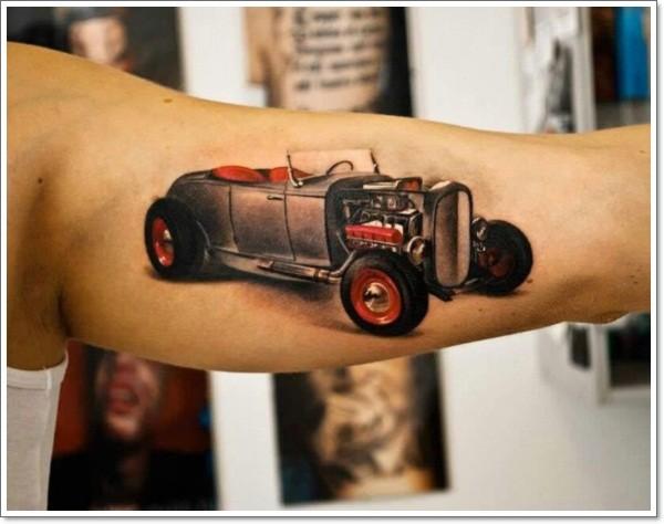 Beautiful black red retro car tattoo