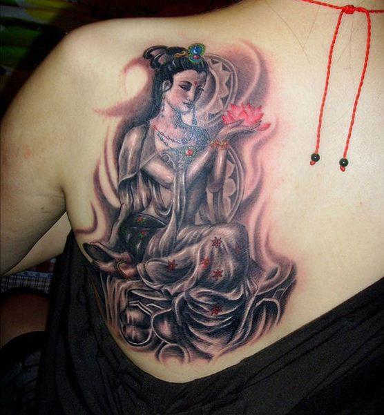 Beautiful chinese tattoo women with lotos