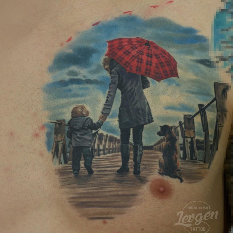 Beautiful colored illustrative style chest tattoo of woman with child and dog on ocean pier