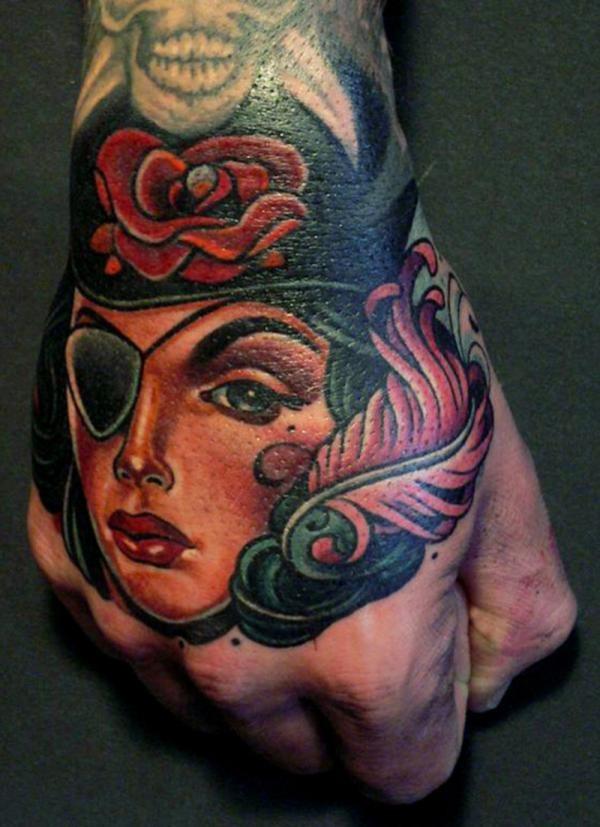 Beautiful colored lady pirate face tattoo