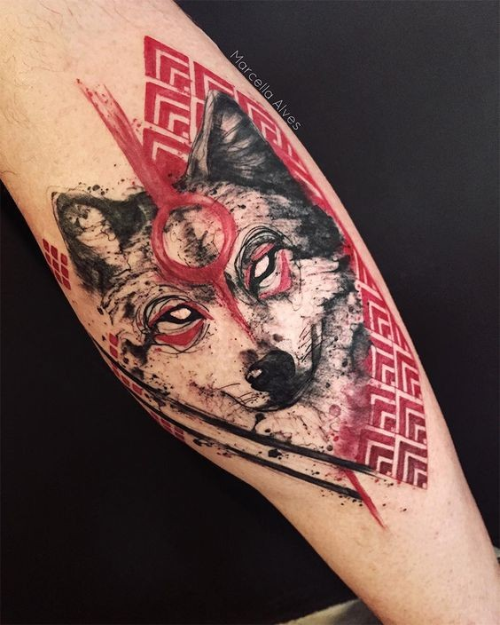 Beautiful colored tattoo of wolf with demonic eyes and ornaments
