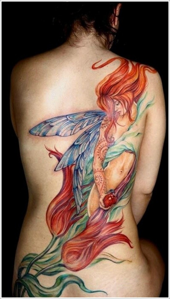 bellissima fata colorato tatuaggio disegno per ragazze