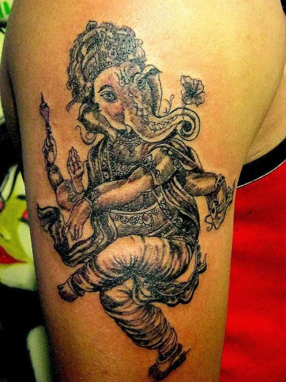 Beautiful dancing ganesha tattoo by Pranay Shah