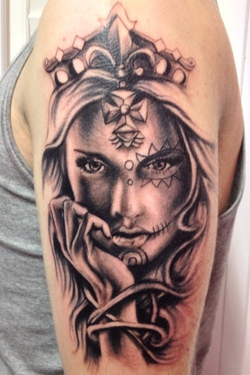 Beautiful day of the dead girl in crown tattoo