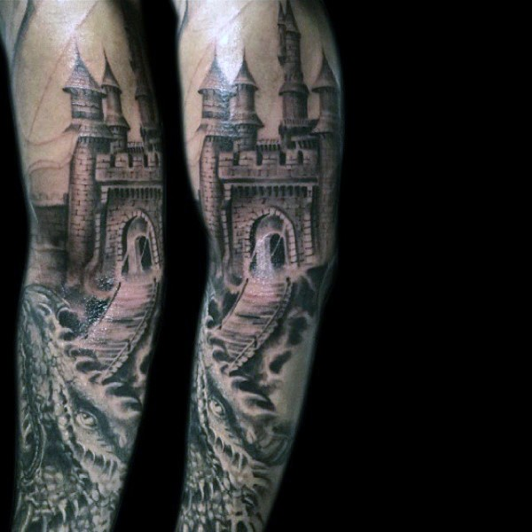 Beautiful designed black and white old medieval castle tattoo on sleeve