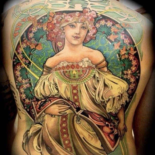 Beautiful designed colorful illustrative style whole back tattoo of sweet woman in wonderful dress with flowers
