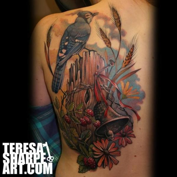 Beautiful designed multicolored half back tattoo of bird with broken tree, berries and flowers