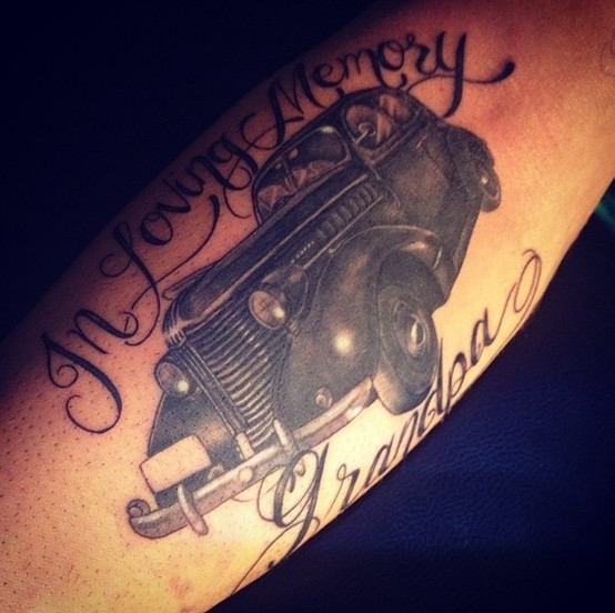 Beautiful detailed car tattoo on arm