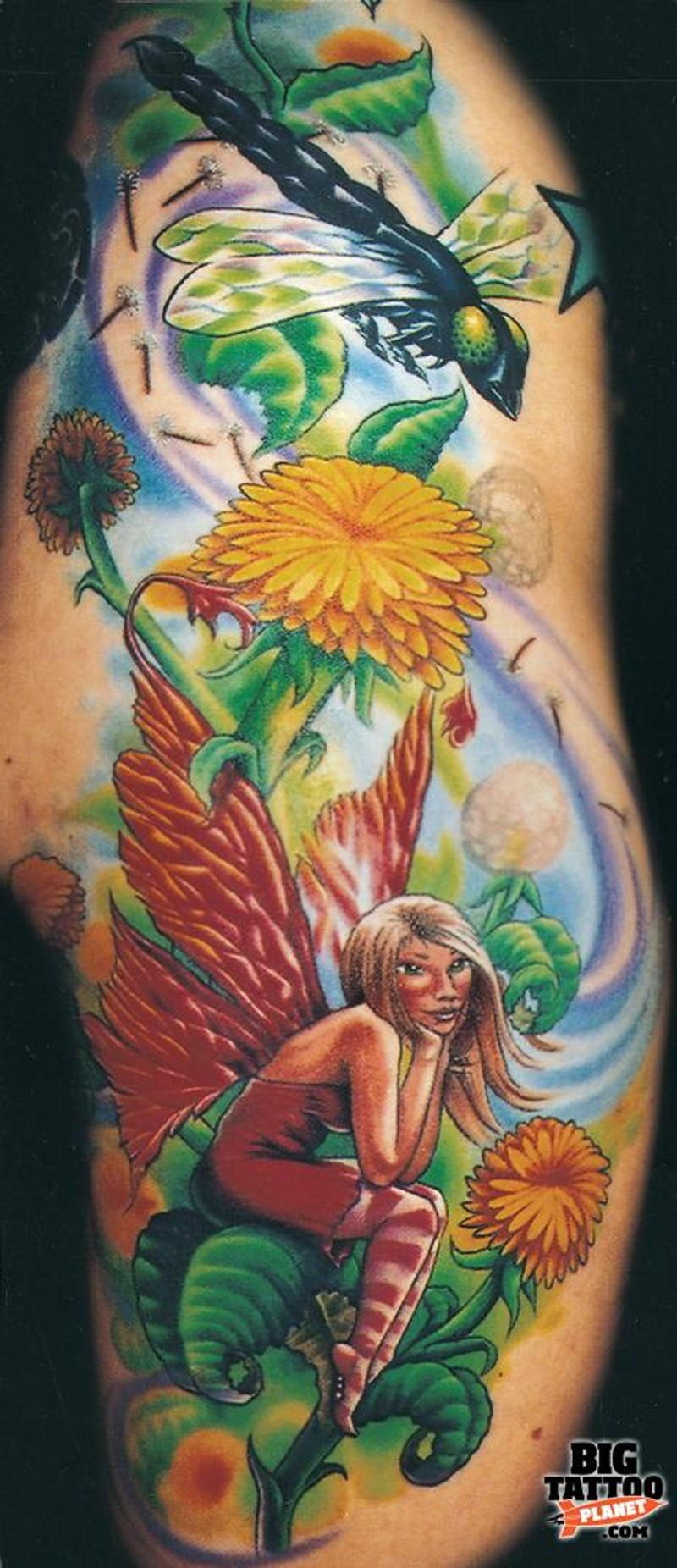 Beautiful fantasy world Tinkerbell tattoo on shoulder with flowers and dragonfly