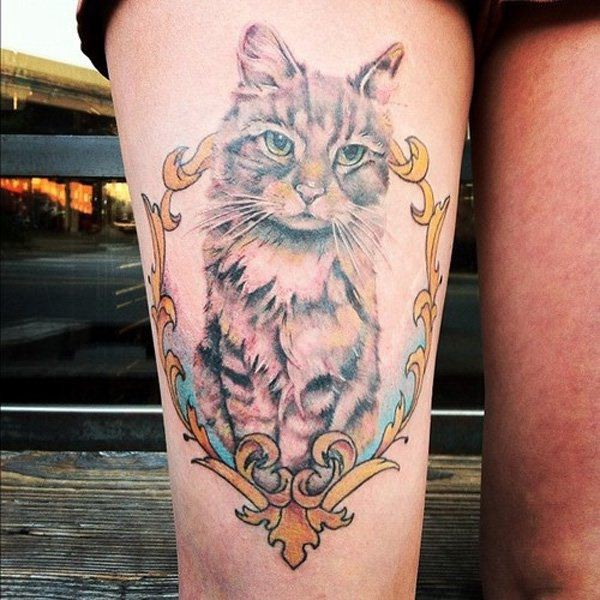 Beautiful for girls like colored thigh tattoo of funny cat portrait