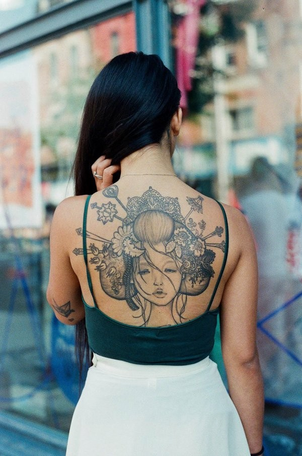 Beautiful geisha tattoo on back for girls