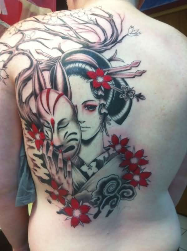 Beautiful geisha with a mask in hand tattoo on back