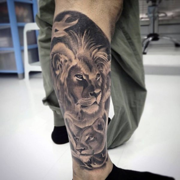 Beautiful gray washed style leg tattoo lion family