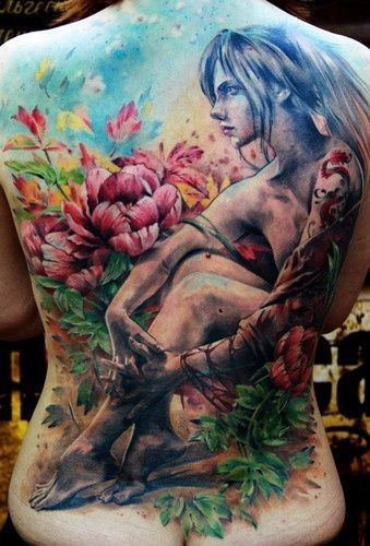 Beautiful illustrative style colored whole back tattoo of naked woman with flowers