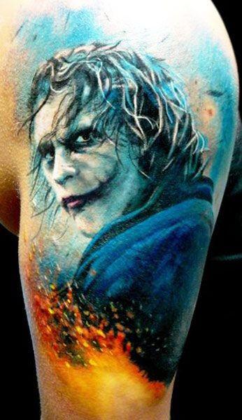 bellissimo joker tatuaggio da Adam Kremer