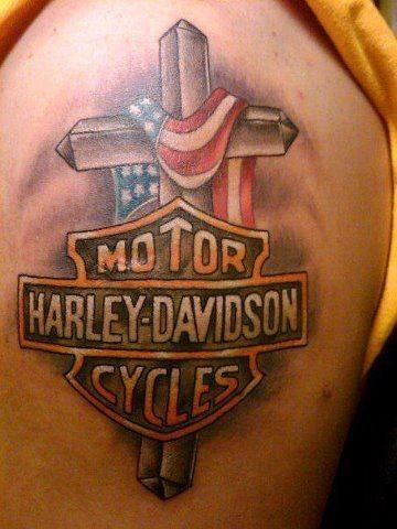 Beautiful logo of harley davidson tattoo on shoulder