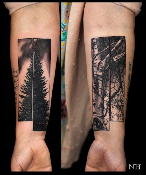 Beautiful looking black and white forearm tattoo of various trees