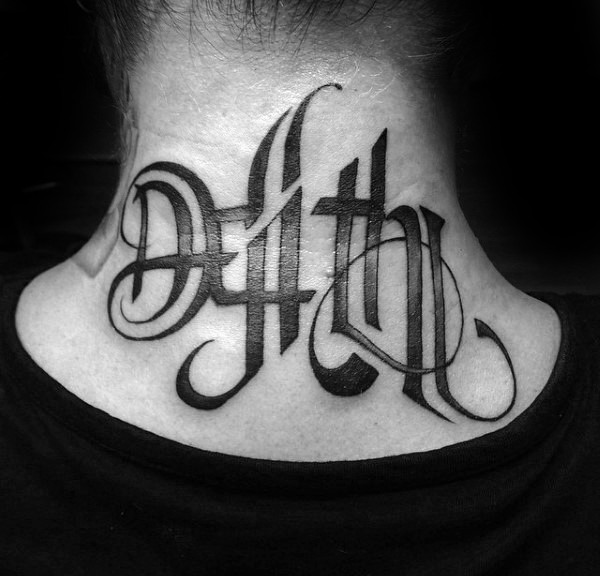 Beautiful looking black ink neck tattoo of mystic lettering