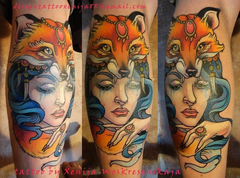 Beautiful looking colored arm of woman with fox skin