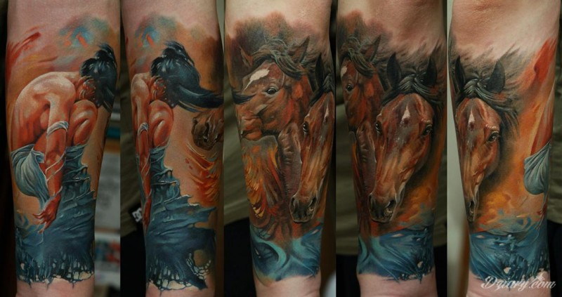 Beautiful looking colored forearm tattoo of horses and mermaid