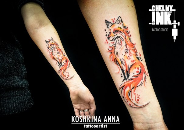 Beautiful looking colored forearm tattoo of cool fox