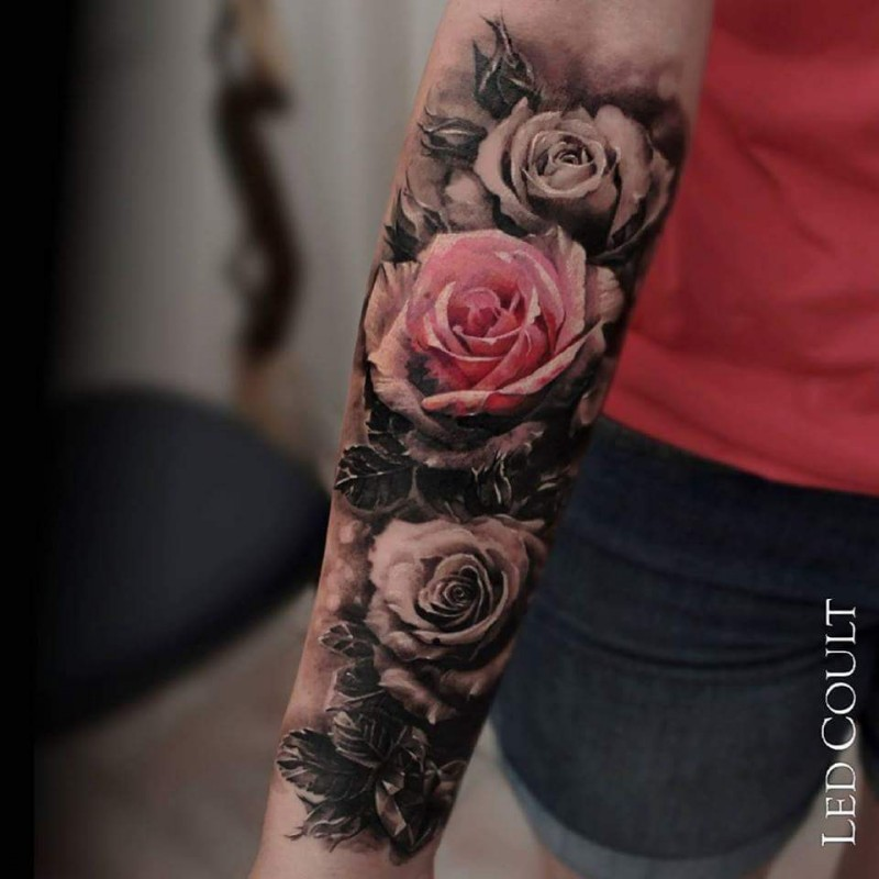 Beautiful looking colored forearm tattoo of realistic rose ...