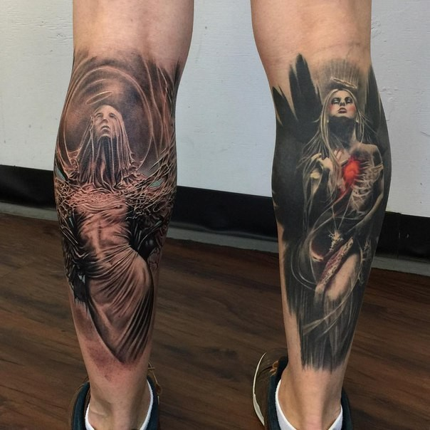 Beautiful looking colored legs tattoo of cool angle woman