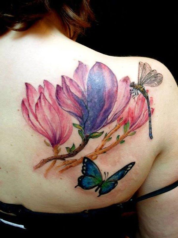 Beautiful looking colored scapular tattoo of flowers with dragonfly and butterfly