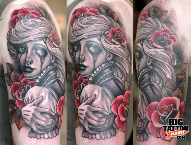 Beautiful looking colored shoulder tattoo of crying woman portrait with red flowers