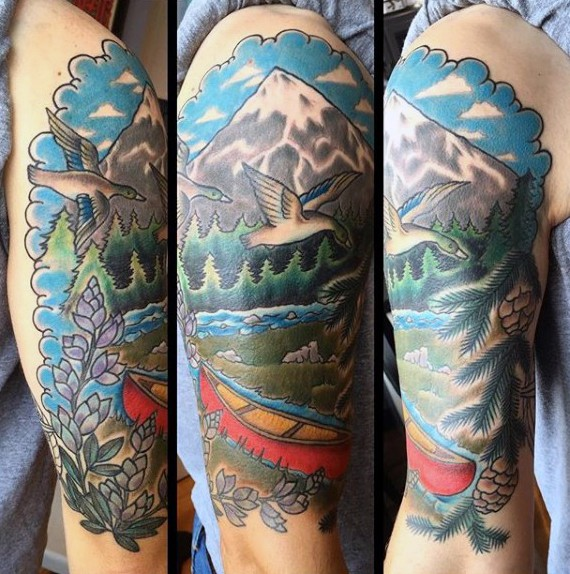 Beautiful looking colored shoulder tattoo of wild life forest with animals and boat