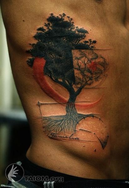 Beautiful looking colored side tattoo of dark tree