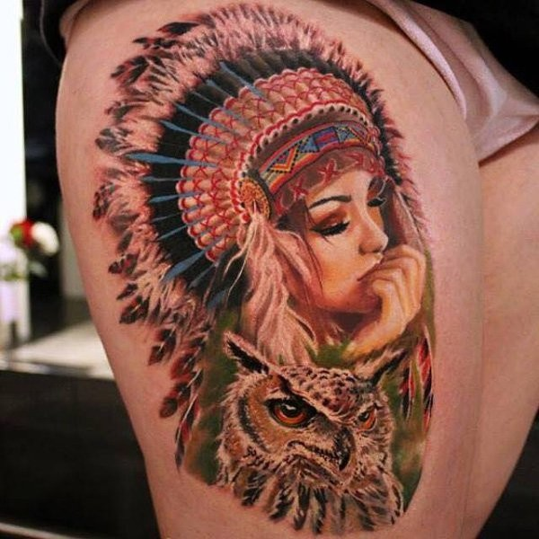 Beautiful looking colored thigh tattoo of Indian woman with owl