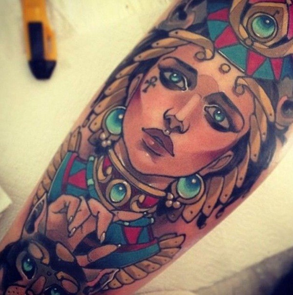 Beautiful looking Multicolored arm tattoo of Egypt woman portrait with cat