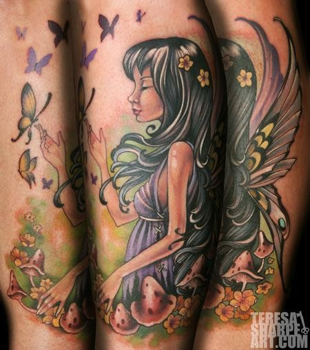 Beautiful looking multicolored fantasy girl with butterflies and mushrooms