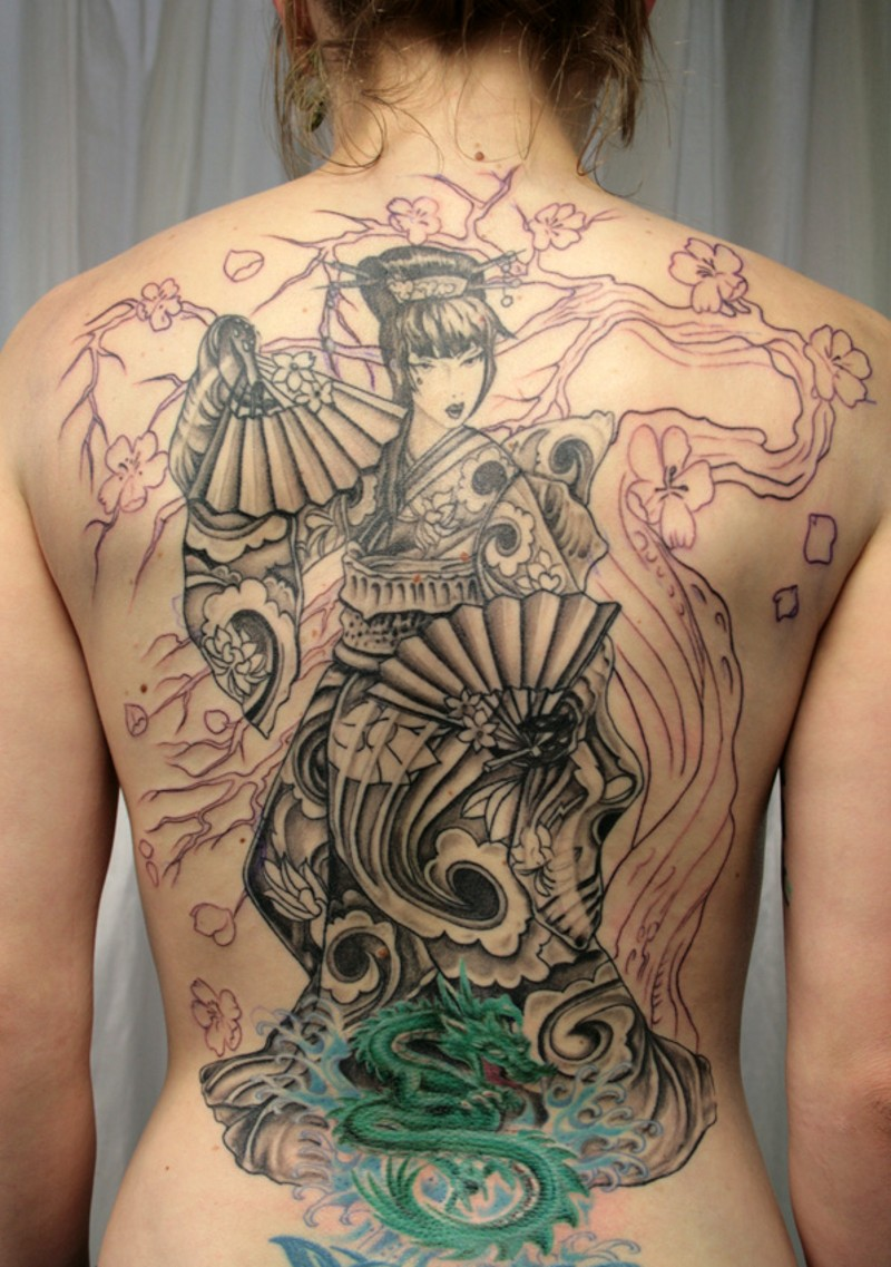 Beautiful looking unfinished whole back tattoo of Asian geisha in beautiful dress and fans