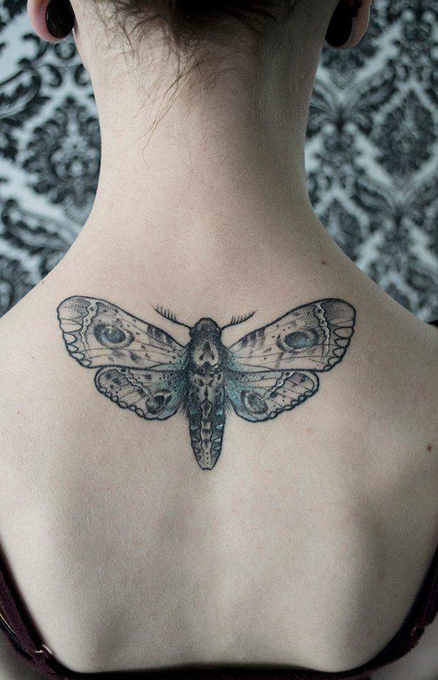 Beautiful looking upper back tattoo of detailed butterfly