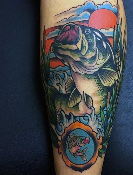 Beautiful multicolored big fish in water tattoo on leg