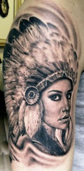 Beautiful native american girl tattoo by hexa salmela for Native american woman tattoo