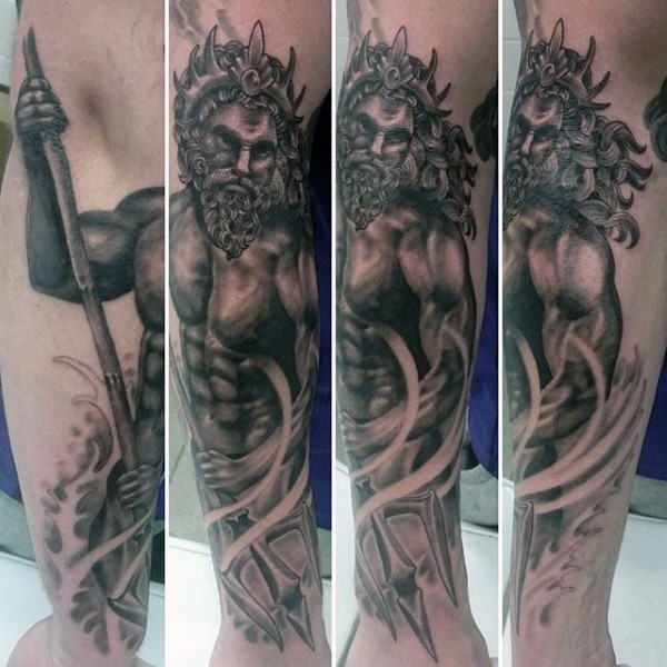 Beautiful painted and detailed black and white Poseidon tattoo on arm