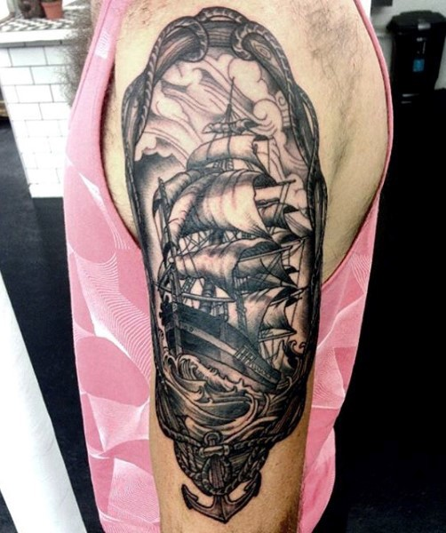 Beautiful painted black and white old ship nautical portrait arm tattoo