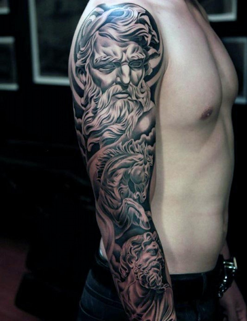 Beautiful painted black ink ancient statues tattoo on sleeve